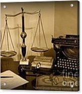 Lawyer - The Lawyer's Desk In Black And White Acrylic Print