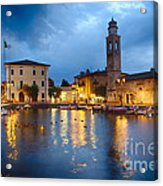 Lazise Harbor Night Scenic Acrylic Print
