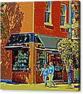 Le Fouvrac Foods Chocolates And Coffee Shop Corner Garnier And Laurier Montreal Street Scene Acrylic Print