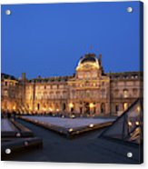 Le Louvre Palace Buildings And Pyramids Acrylic Print