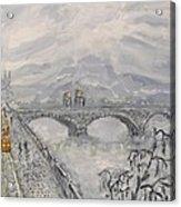 Leaden Winter In Golden Prague  Acrylic Print