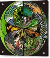 Leaf Collage Orb Acrylic Print