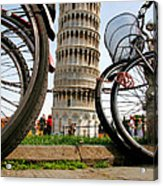 Leaning Bicycles Of Pisa Acrylic Print