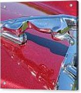 Leaper Hood Ornament On Red Jaguar Acrylic Print