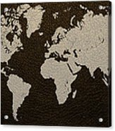 Leather Texture Map Of The World Acrylic Print