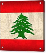 Lebanon Flag Vintage Distressed Finish Acrylic Print