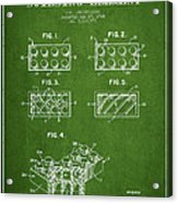 Lego Toy Building Element Patent - Green Acrylic Print