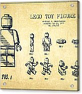 Lego Toy Figure Patent Drawing From 1979 - Vintage Acrylic Print by Aged Pixel