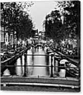 Leidsegracht Canal At Night / Amsterdam Acrylic Print