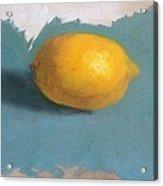 Lemon On Blue Cloth Acrylic Print