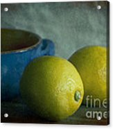 Lemons And Blue Terracotta Pot Acrylic Print by Elena Nosyreva