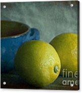 Lemons And Blue Terracotta Pot Acrylic Print