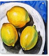 Lemons On Blue Acrylic Print