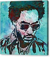 Lenny Kravitz - Stylised Etching Pop Art Poster Acrylic Print by Kim Wang