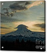 Lenticular Sunset On Mount Hood Acrylic Print by Cari Gesch