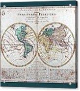 Leonhard Euler World Map 1760 Ad With Matching Grey Aqua Small Border Acrylic Print