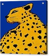 Leopard On Blue Acrylic Print