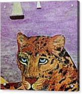 Leopard On The Water Acrylic Print