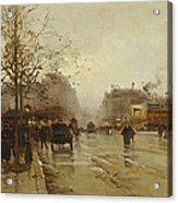 Les Boulevards Paris Acrylic Print by Eugene Galien-Laloue