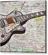 Les Paul On Austin Map Acrylic Print by William Cauthern