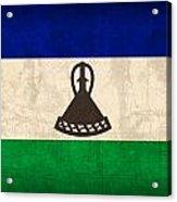 Lesotho Flag Vintage Distressed Finish Acrylic Print