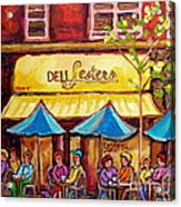 Lester's Deli Montreal Smoked Meat Paris Style French Cafe Paintings Carole Spandau Acrylic Print