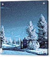 Let It Snow Blue Version Acrylic Print
