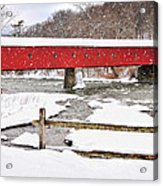 Connecticut Covered Bridge Snow Scene By Thomasschoeller.photography  Acrylic Print