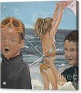 Beach - Children Playing - Kite Acrylic Print by Jan Dappen