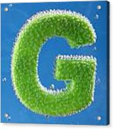 letter G underwater with bubbles  Acrylic Print
