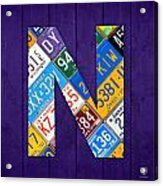 Letter N Alphabet Vintage License Plate Art Acrylic Print
