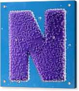 letter N underwater with bubbles  Acrylic Print