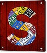 Letter S Alphabet Vintage License Plate Art Acrylic Print