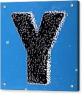 letter Y underwater with bubbles Acrylic Print