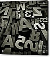 Letters And Numbers Gray Tones Acrylic Print
