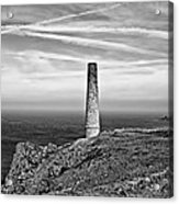 Levant To Pendeen View Black And White Acrylic Print