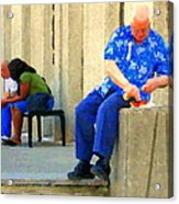 L'homme Orange Quiet Corner On St Catherine Street Downtown Montreal City Scene Carole Spandau Acrylic Print