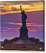 Liberty Statue Silhouette Sunset Acrylic Print