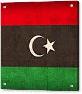 Libya Flag Vintage Distressed Finish Acrylic Print