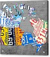 License Plate Map Of Canada On Gray Acrylic Print