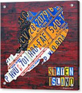 License Plate Map Of Staten Island New York Nyc Acrylic Print