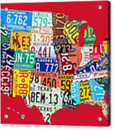 License Plate Map Of The United States On Bright Red Acrylic Print