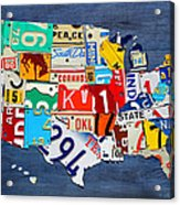 License Plate Map Of The United States - Small On Blue Acrylic Print