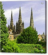 Lichfield Cathedral From The Garden Acrylic Print