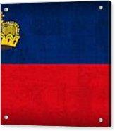 Liechtenstein Flag Vintage Distressed Finish Acrylic Print