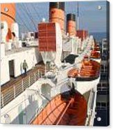 Life Boats 01 Queen Mary Ocean Liner Port Long Beach Ca Acrylic Print