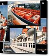 Life Boats Collage Queen Mary Ocean Liner Long Beach Ca Acrylic Print