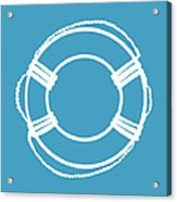 Life Preserver In White And Turquoise Blue Acrylic Print