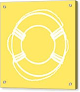 Life Preserver In White And Yellow Acrylic Print