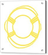 Life Preserver In Yellow And Whtie Acrylic Print